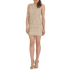 RubyRay - Tan scalloped beaded shift dress