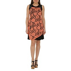 Izabel London - Dark peach overlay decorative tunic dress