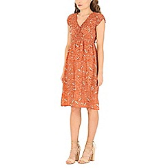Izabel London - Orange printed dress with sheering details