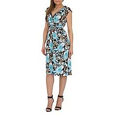 Izabel London - Blue cross over printed dress