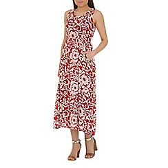 Izabel London - Red polyester sleeveless flower printed