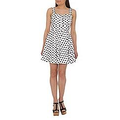 Izabel London - Black polyester sleeveless polka dot dress