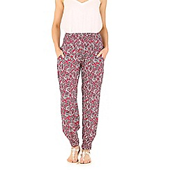 Izabel London - Dark red elasticised paisley trousers
