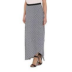 Izabel London - Blue viscose geometric printed long skirt
