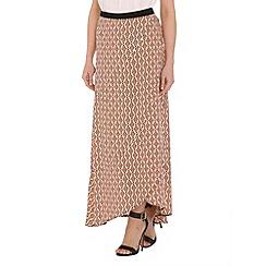 Izabel London - Orange viscose geometric printed long skirt