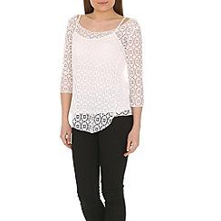Izabel London - White long sleeve crochet top