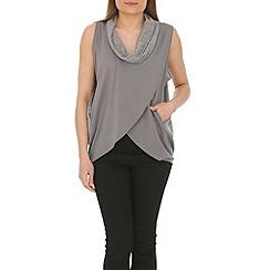 Izabel London - Grey sleeveless draped top