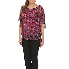 Izabel London - Pink polyester short sleeve butterfly print