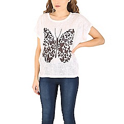 Izabel London - White multi butterfly printed top