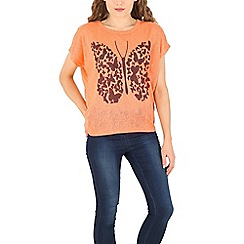Izabel London - Peach multi butterfly printed top