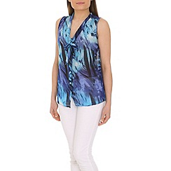 Izabel London - Blue printed chiffon top with front tie
