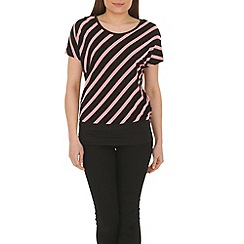 Izabel London - Pink diagonal striped top