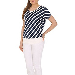 Izabel London - Blue diagonal striped top