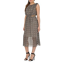 Amaya - Beige midi print dress with belt