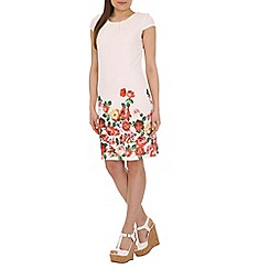 Amaya - White floral print border dress