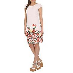 Amaya - White floral print border dress