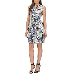 Amaya - Green printed skater dress