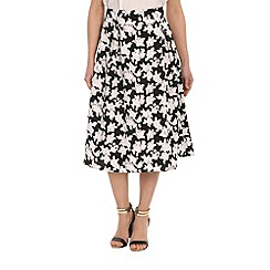 Pussycat London - Black floral print pleated midi skirt