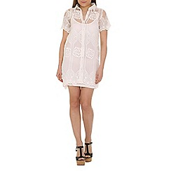 Cutie - White lace a-line shirt dress