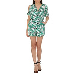 Cutie - Green floral print playsuit