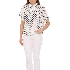 Cutie - White dotted shirt top
