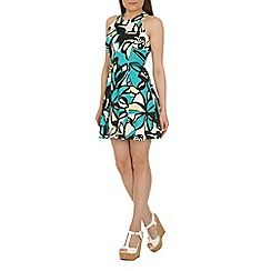 Closet - Green scuba floral racer dress