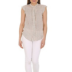 Tenki - White high neck patterned top