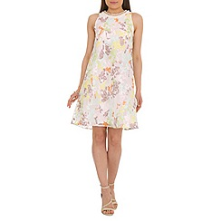 Belle by Badgley Mischka - Blue floral print trapeze dress