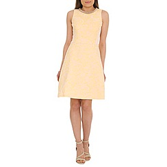 Belle by Badgley Mischka - Light yellow floral jacquard a line dress