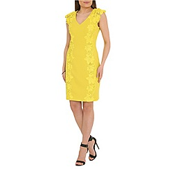 Belle by Badgley Mischka - Lime honey comb lace trim dress