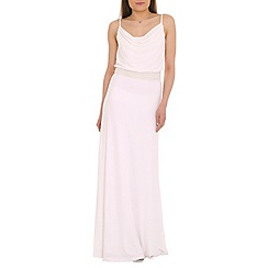 Belle by Badgley Mischka - White draped neckline maxi dress