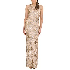 Belle by Badgley Mischka - Gold floral sequin dress