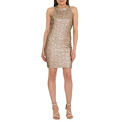 Belle by Badgley Mischka - Gold sequin cocktail dress