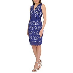 Belle by Badgley Mischka - Blue banded lace sheath cocktail dress
