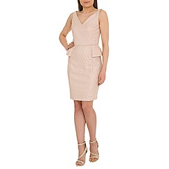 Belle by Badgley Mischka - Gold v-neck peplum dress