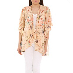 Voulez Vous - Natural cut out sleeve waterfall kimono