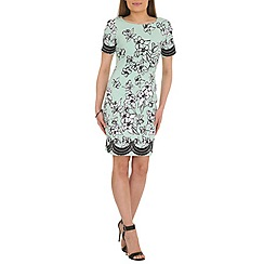 Belle by Badgley Mischka - Blue floral border shift dress
