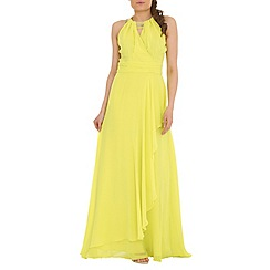 Belle by Badgley Mischka - Green beaded halter a-line gown