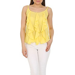 Cutie - Yellow frill detail vest top