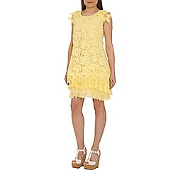 Jolie Moi - Yellow crochet a-line lace dress