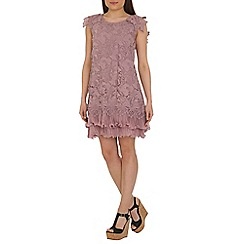 Jolie Moi - Mauve crochet a-line lace dress