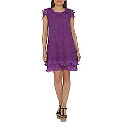 Jolie Moi - Purple crochet a-line lace dress