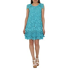 Jolie Moi - Aqua crochet a-line lace dress