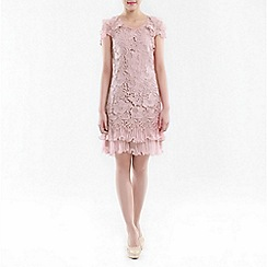 Jolie Moi - Light pink crochet a-line lace dress