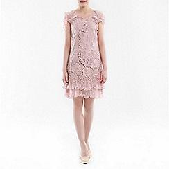 Jolie Moi - Light pink crochet a-line lace dress