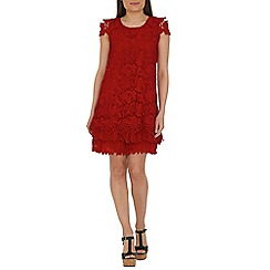Jolie Moi - Dark red crochet a-line lace dress