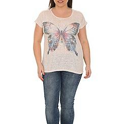 Samya - Beige single butterfly print top