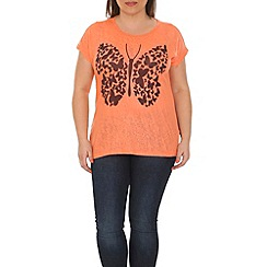 Samya - Peach multi butterfly printed top