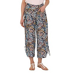 Mandi - Blue botanical wide-leg trousers