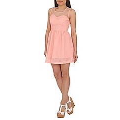 Mandi - Pink patterned skater dress
